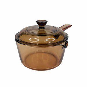 Corning Ware Vision Sauce Pan Lid 1 Quart Amber